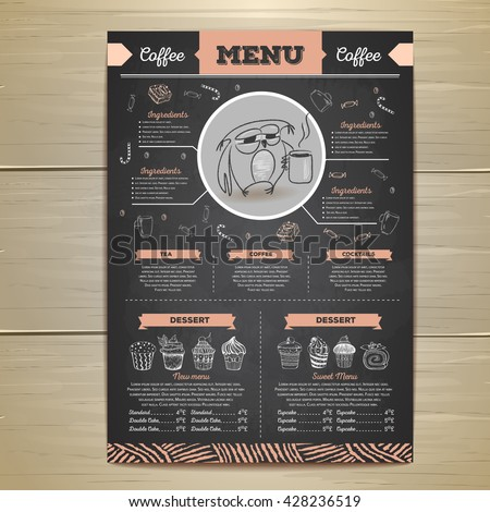 vintage chalk drawing coffee menu design stock vector royalty free