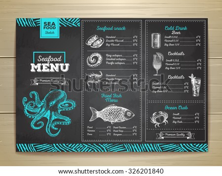 Vintage chalk drawing seafood menu design.  - stock vector