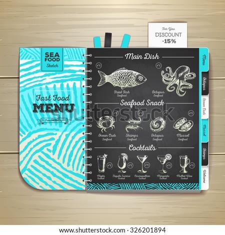 Vintage chalk drawing seafood menu design.  - stock vector