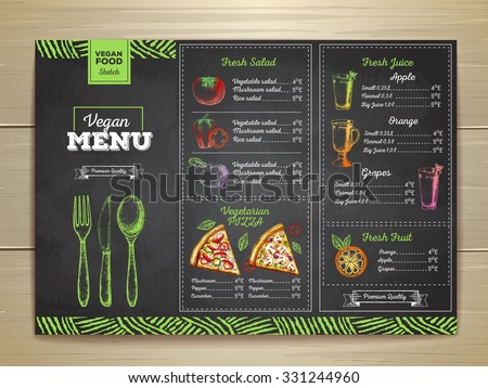 Vintage chalk drawing vegetarian food menu design.  - stock vector