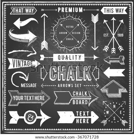 Vintage Chalkboard Arrows - Set of vintage arrows and banners. Each object is grouped and file is layered for easy editing. Textures can be removed. - stock vector