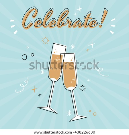Vintage champagne glasses vector illustration - stock vector