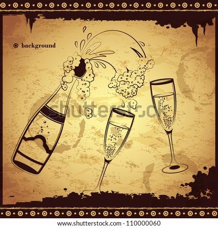 Vintage Champagne  illustration - stock vector
