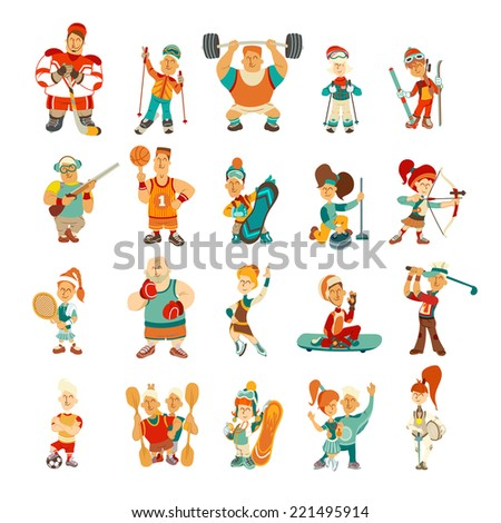Vintage character set. Sport icons. Cartoon character set. Vector illustration