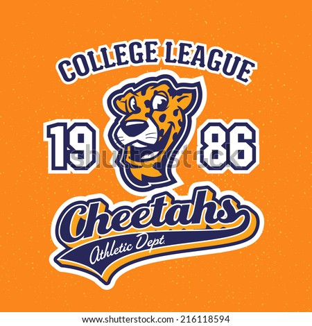 Vintage cheetahs textured varsity team sport t-shirt apparel graphic design, athletic department (grunge effect easy removable from separate layer) - stock vector