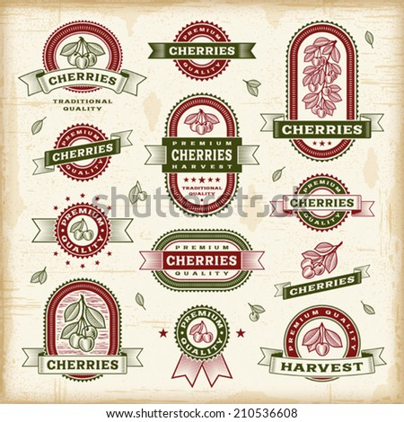 Vintage cherry labels set. Fully editable EPS10 vector. - stock vector