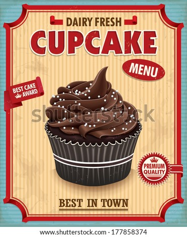 Vintage chocolate cupcake poster design  - stock vector