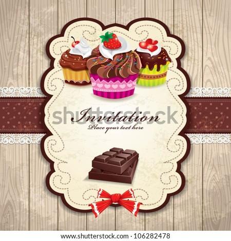 Vintage chocolate cupcake template - stock vector