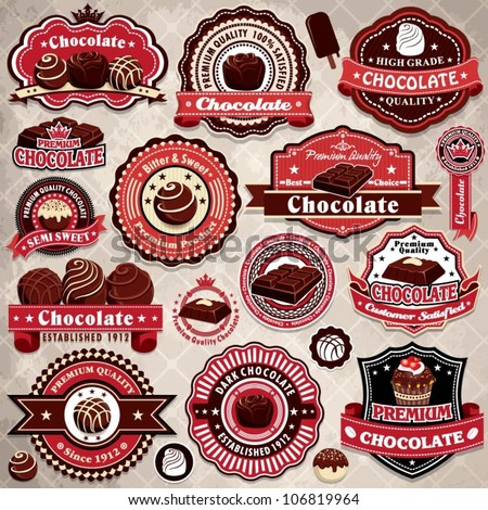 Vintage chocolate label set template - stock vector