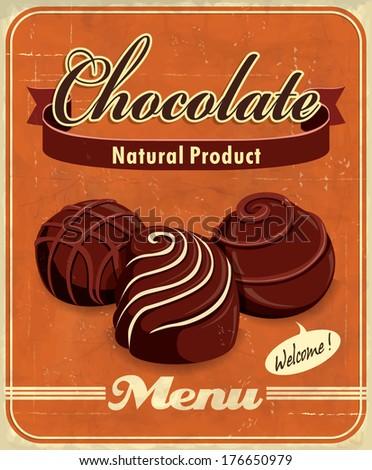 Vintage Chocolate Poster Design Stock Vector 176650979 - Shutterstock