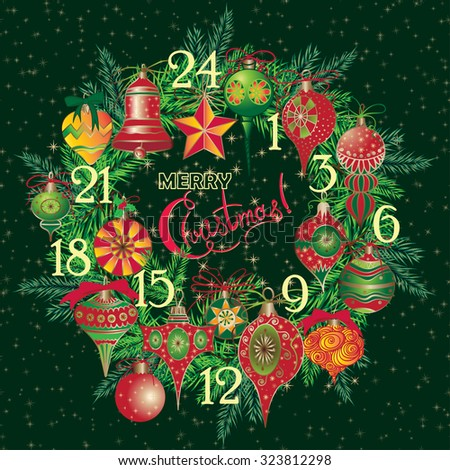 Vintage Christmas Advent Calendar with holiday symbol wreath Elegant winter decor pattern for your design. Vector illustration