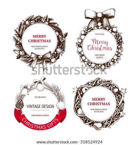 Vintage Christmas and new year decoration collection with ink hand drawn elements. Vector holiday wreaths set with frames, ribbons,  borders.  - stock vector