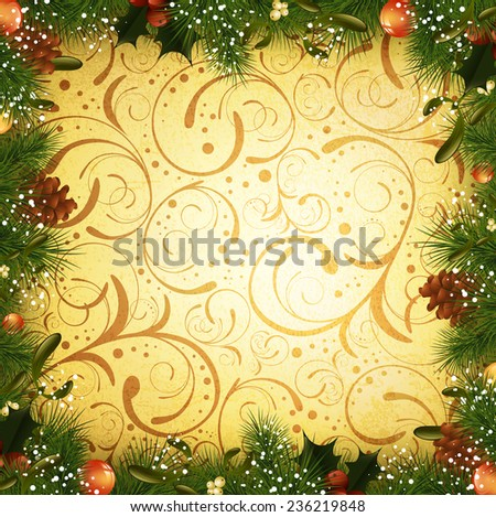 Vintage Christmas and New Year Fir Tree Frame With Mistletoe, Copyspace - stock vector