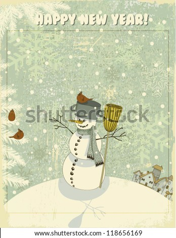 Vintage Christmas and New Year Greeting Card - Snowman on hill, against the snowy textured backdrop, with a pot and broom, cheerfully looking at red cardinals on snow-covered pine tree branches