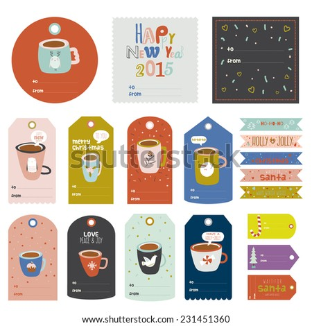 Vintage Christmas and New Year greeting stickers, labels, tags and ribbons with cute winter elements, typography, greeting and wishes. Perfect for wrapping and scrapbooking. Winter coffee and tea - stock vector