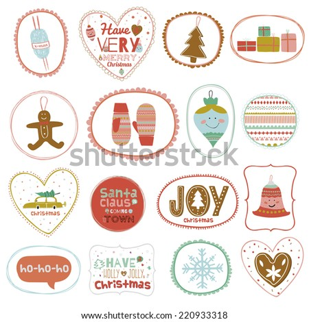 Vintage Christmas and New Year greeting stickers with cute winter elements, icons, typography, greeting and wishes. Warm wishes. Have a very merry Christmas. Good for winter design cards or posters. - stock vector