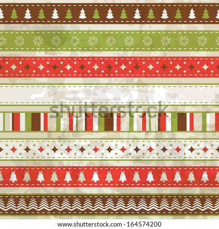 vintage Christmas background (seamless pattern and seamless ribbon are in the palettes) - stock vector