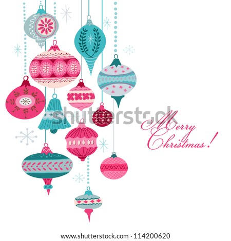 Vintage Christmas Background - with christmas tree balls - for design and scrapbook - in vector - stock vector