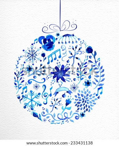 Vintage Christmas bauble shape. Hand drawn watercolor in blue with flowers, ribbons, snowflakes and retro elements. Ideal for greeting card, poster and web.  - stock vector