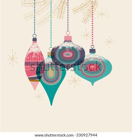 Vintage Christmas baubles, eps10 vector - stock vector