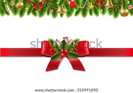 Vintage Christmas Border With Gradient Mesh, Vector Illustration - stock vector
