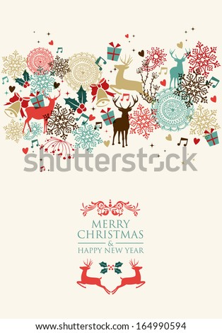 Vintage Christmas card and Happy New Year seamless pattern background. EPS10 vector file organized in layers for easy editing. - stock vector