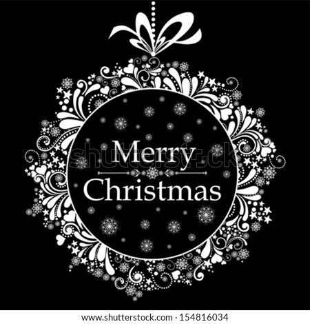 Vintage Christmas card. Celebration black background with Christmas wreath and place for your text. Vector Illustration - stock vector