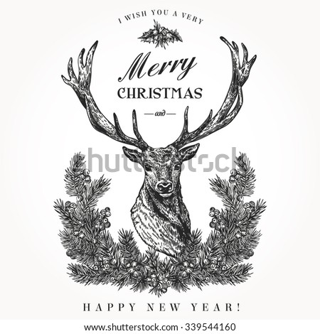 Vintage Christmas Card Deer And Pine Wreath Merry A Happy New Year
