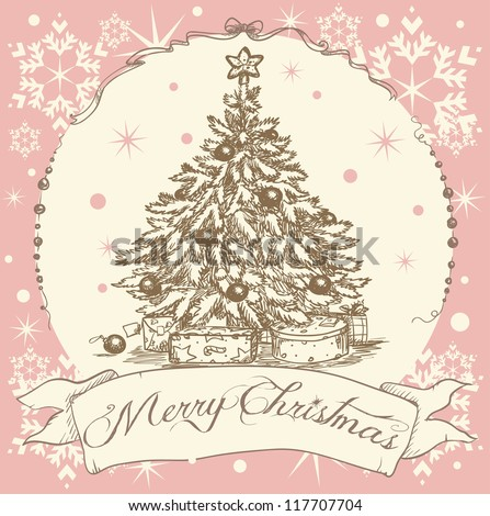 Vintage Christmas card, Hand drawn Christmas tree with presents under it. - stock vector