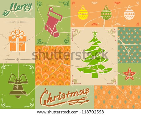 Vintage christmas card in green colors. Vector collage of christmas symbols