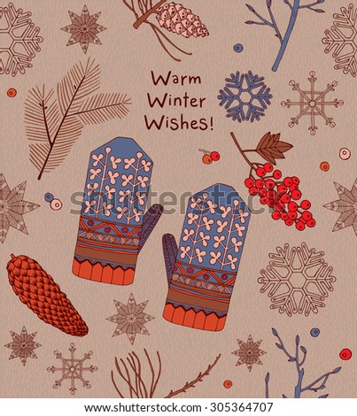 Vintage Christmas card, mittens, berries with text seamless pattern background.
