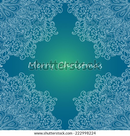 Vintage christmas card on grunge background with lace floral ornament. Template frame design for greeting card. Can be used for packaging,invitations, greetings, wishes, decoration,bag template, etc