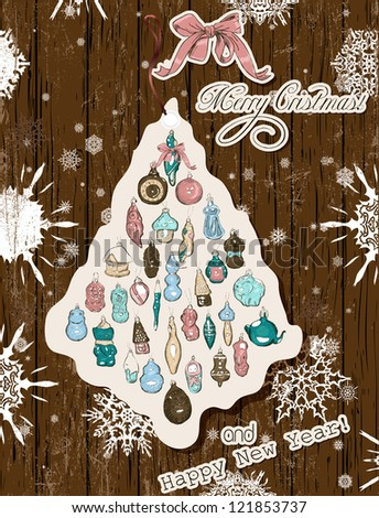 Vintage Christmas card pastel colors. Vector illustration EPS10