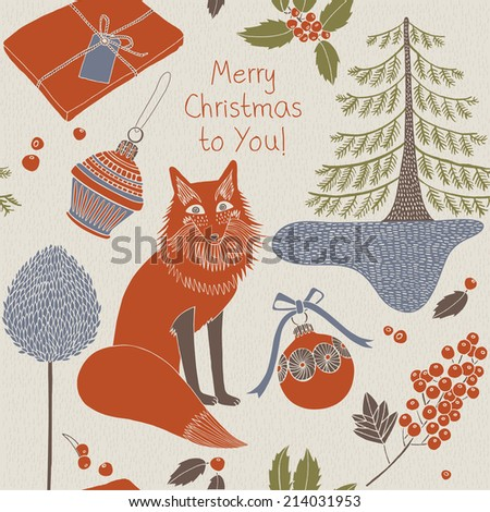 Vintage Christmas card. Seamless pattern background. Fox with winter trees and Christmas decorations.