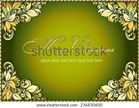 Vintage Christmas Card. Stylized pattern and snowflakes - stock vector