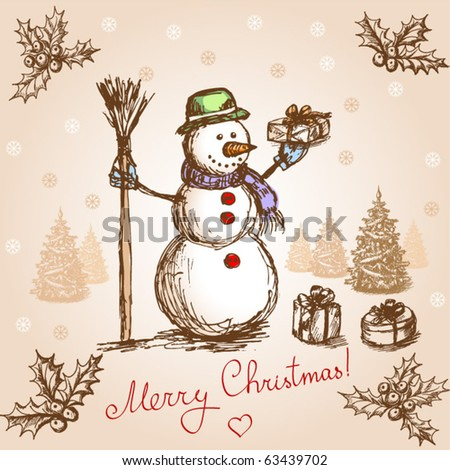 Vintage christmas card. Vector - stock vector