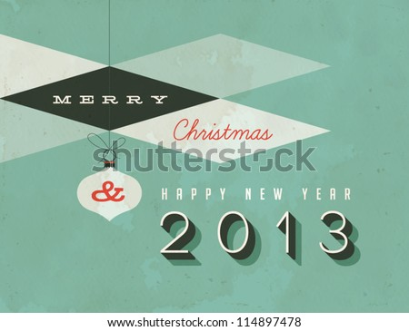 Vintage Christmas Card - Vector EPS10. Dirty effects can be easily removed for a brand new, clean design. - stock vector