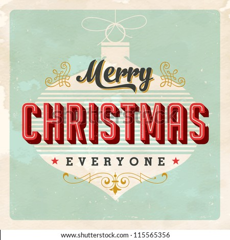 Vintage Christmas Card Vector Eps10 Grunge Stock Vector 115565356 ...