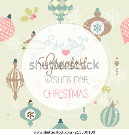 Vintage Christmas Card - Vector illustration - stock vector
