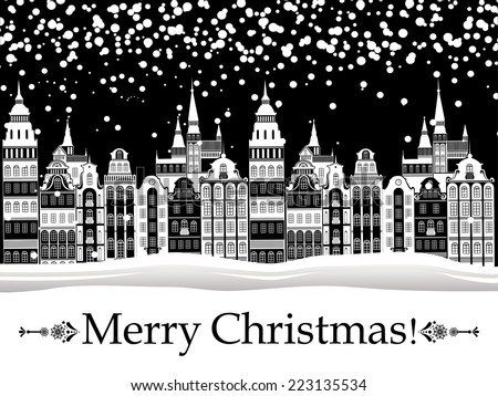 Vintage Christmas card. Winter Christmas houses in old city. vector illustration  - stock vector