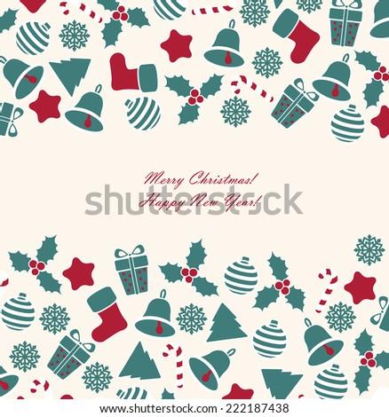 Vintage christmas card with christmas ball, tree, gift.  - stock vector