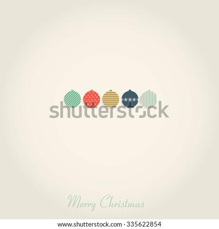 Vintage christmas card with christmas balls - stock vector