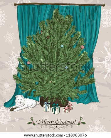Vintage Christmas card with Christmas tree, presents and cute puppy. Vector illustration EPS8