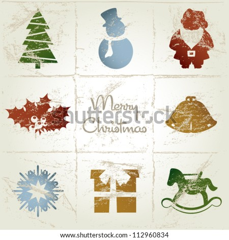 vintage christmas card with christmas tree, santa claus, snowman, gift, bell, snowflake and rocking horse - stock vector