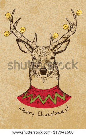 Vintage Christmas card with deer - stock vector