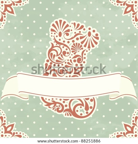 Vintage Christmas card with filigree stocking (eps10);  jpg version also available - stock vector