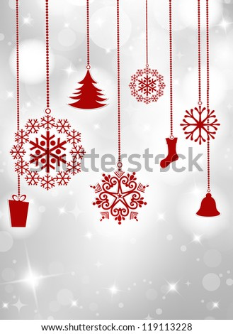Vintage Christmas card with ornaments. EPS 10. - stock vector
