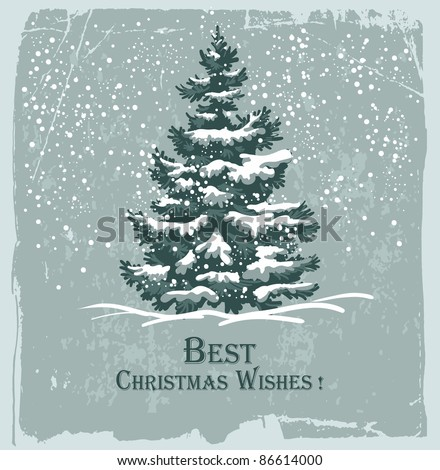 Vintage Christmas card with spruce in the snow
