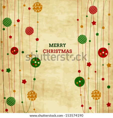 Vintage Christmas card with xmas balls and stars - stock vector