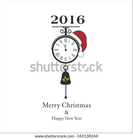 Vintage Christmas clock - stock vector